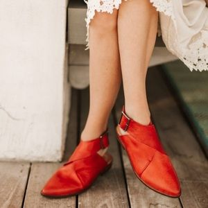 Free People Red Leather Wrap Shoes